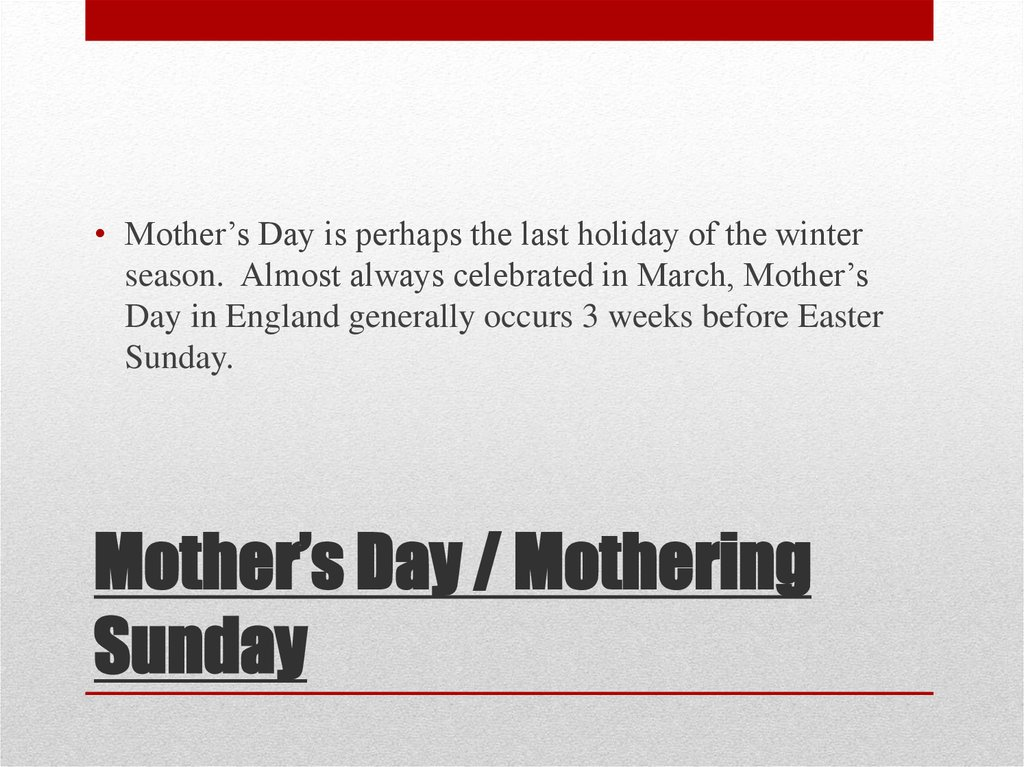 Mother's Day / Mothering Sunday