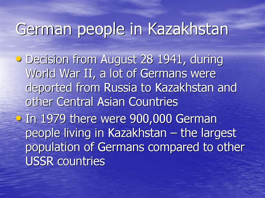 German people in Kazakhstan