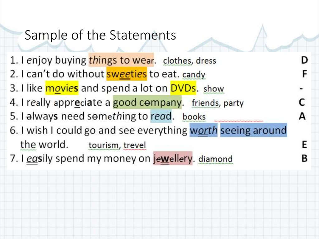 Sample of the Statements