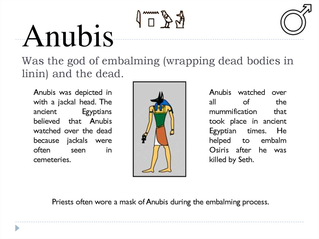 Anubis Was the god of embalming (wrapping dead bodies in linin) and the dead.