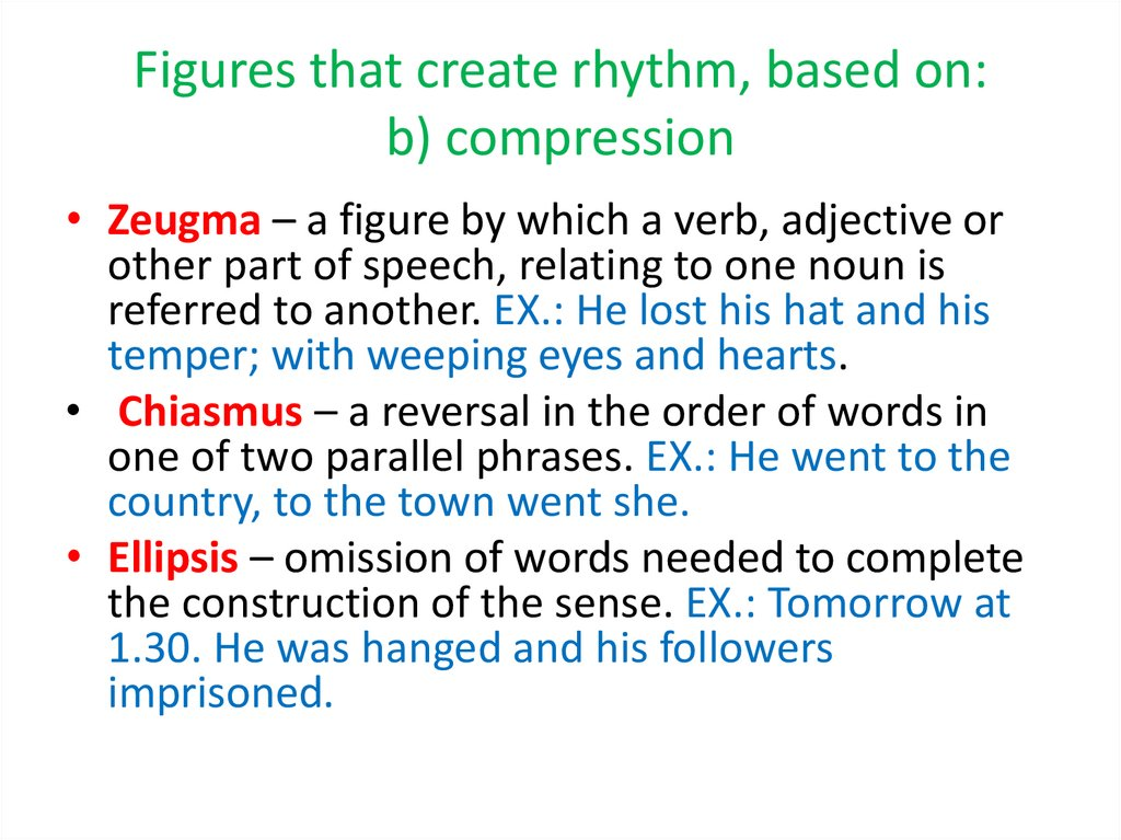 Figures that create rhythm, based on: b) compression