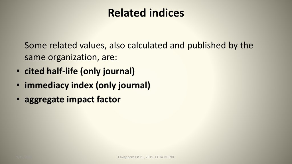 Related indices