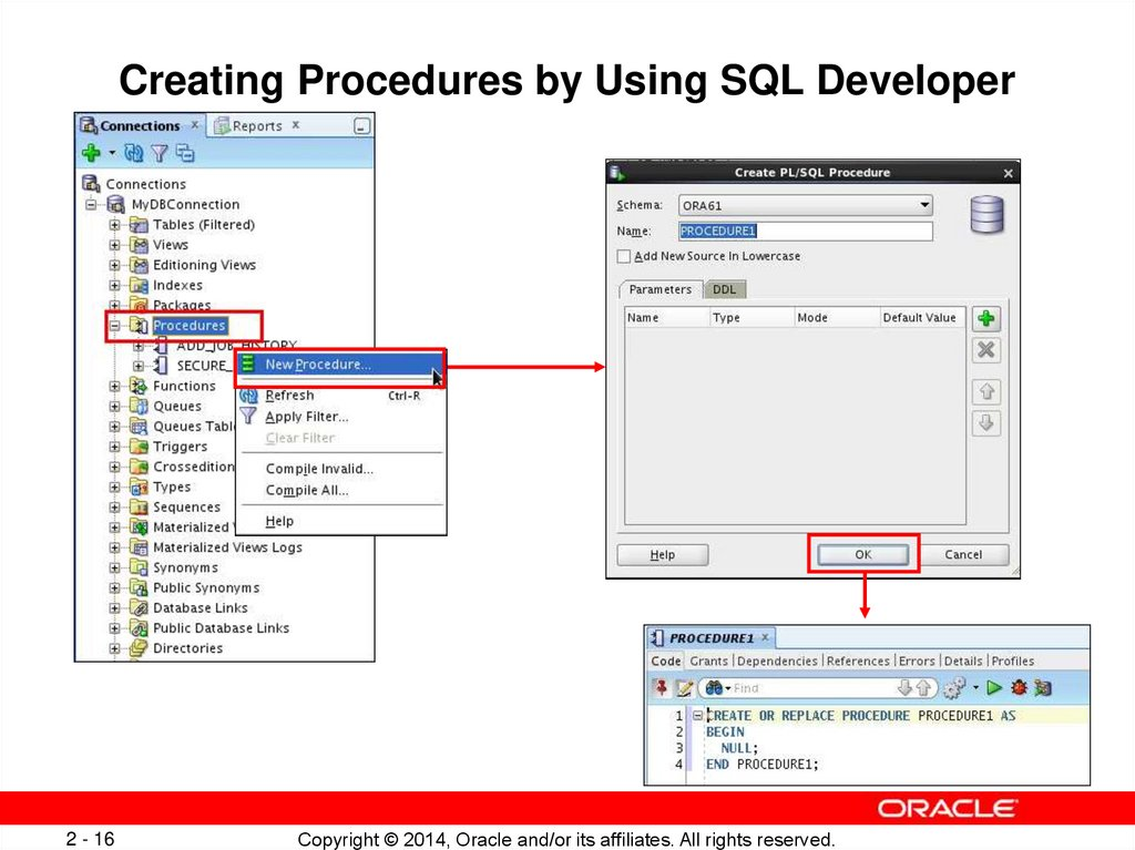 Creating Procedures by Using SQL Developer