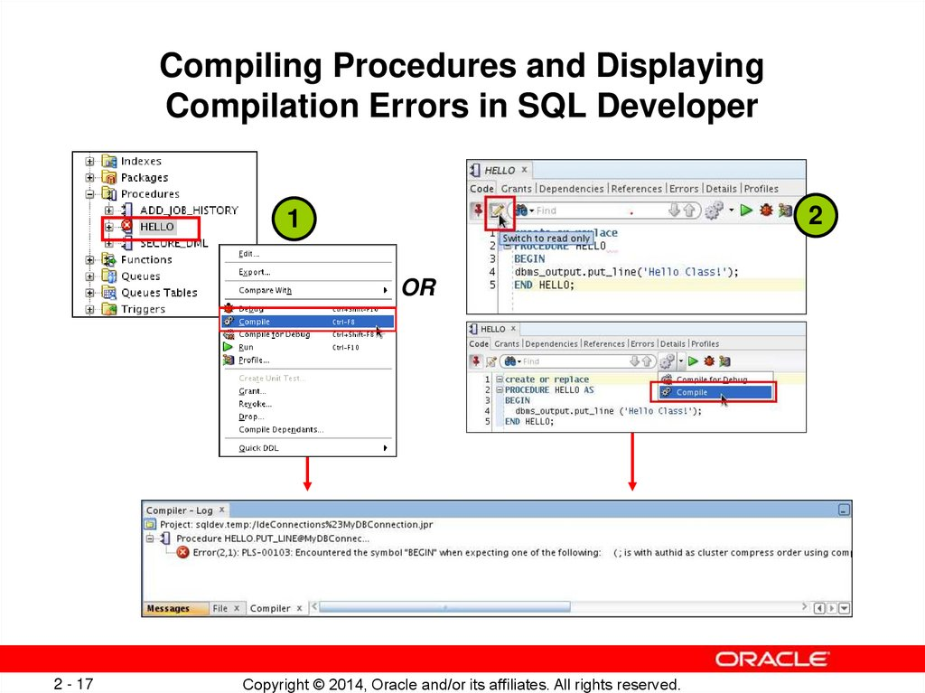 Compiling Procedures and Displaying Compilation Errors in SQL Developer