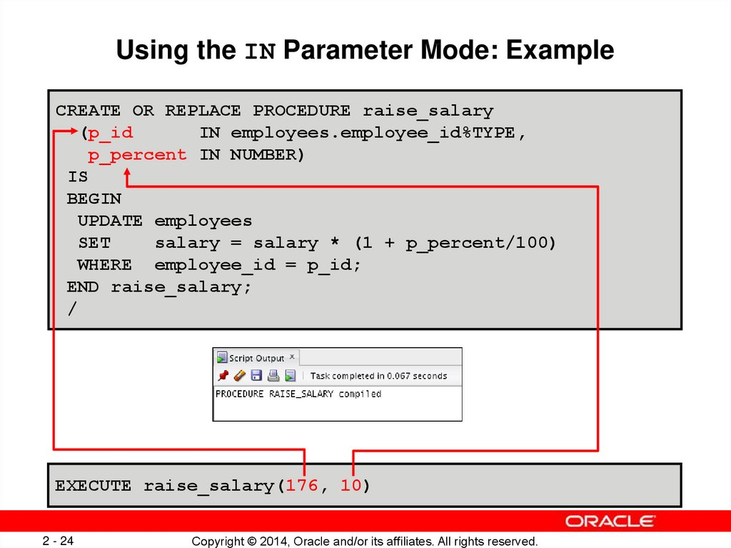 Using the IN Parameter Mode: Example