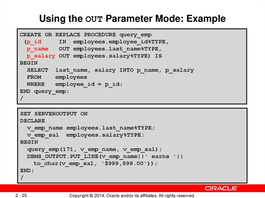 Using the OUT Parameter Mode: Example