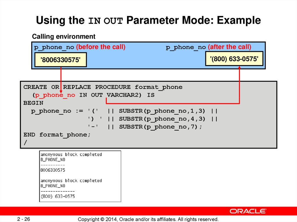 Using the IN OUT Parameter Mode: Example