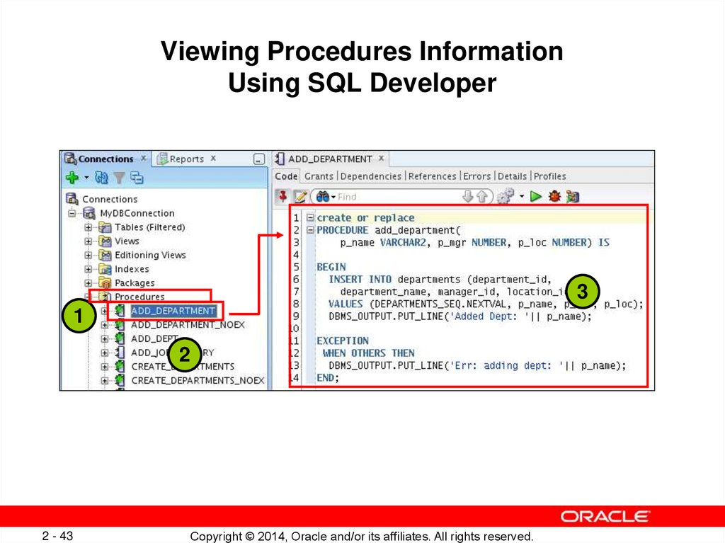 Viewing Procedure Information Using the Data Dictionary Views