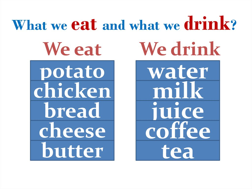 What we eat and what we drink?