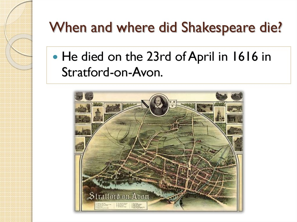 When and where did Shakespeare die?