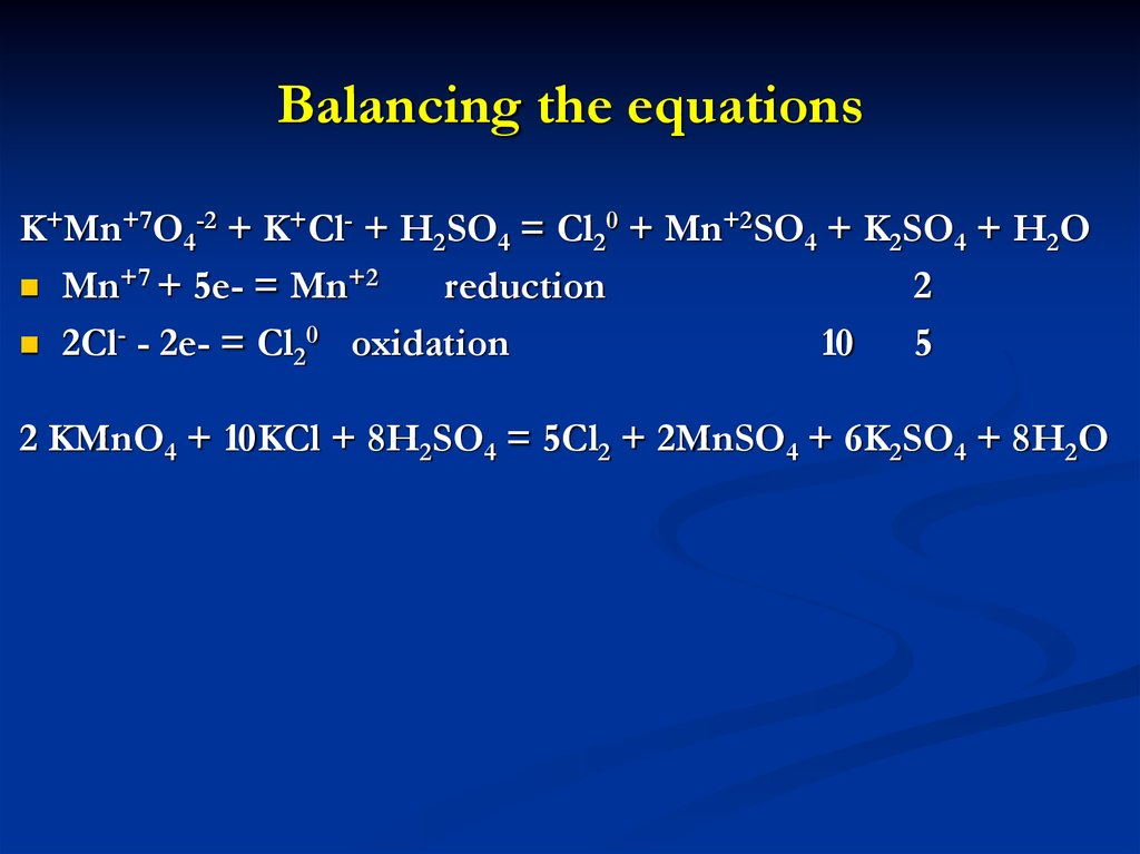 Balancing the equations