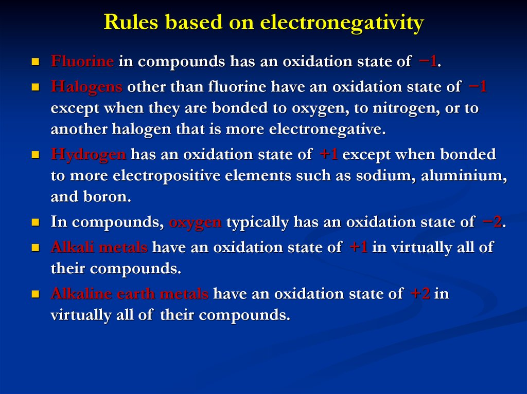 Rules based on electronegativity