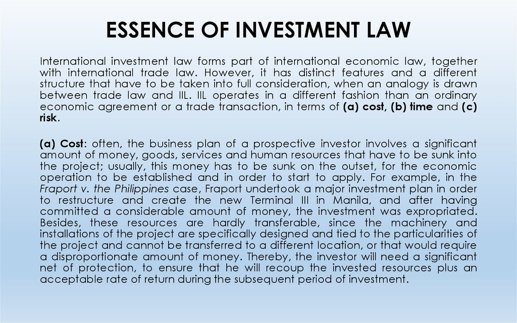 ESSENCE OF INVESTMENT LAW