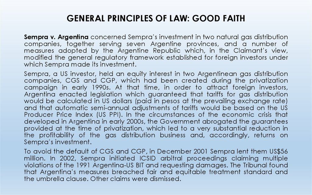 GENERAL PRINCIPLES OF LAW: GOOD FAITH