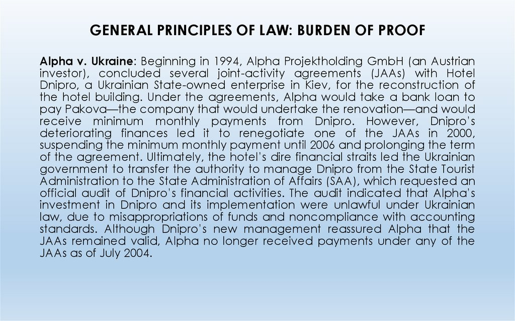 GENERAL PRINCIPLES OF LAW: BURDEN OF PROOF