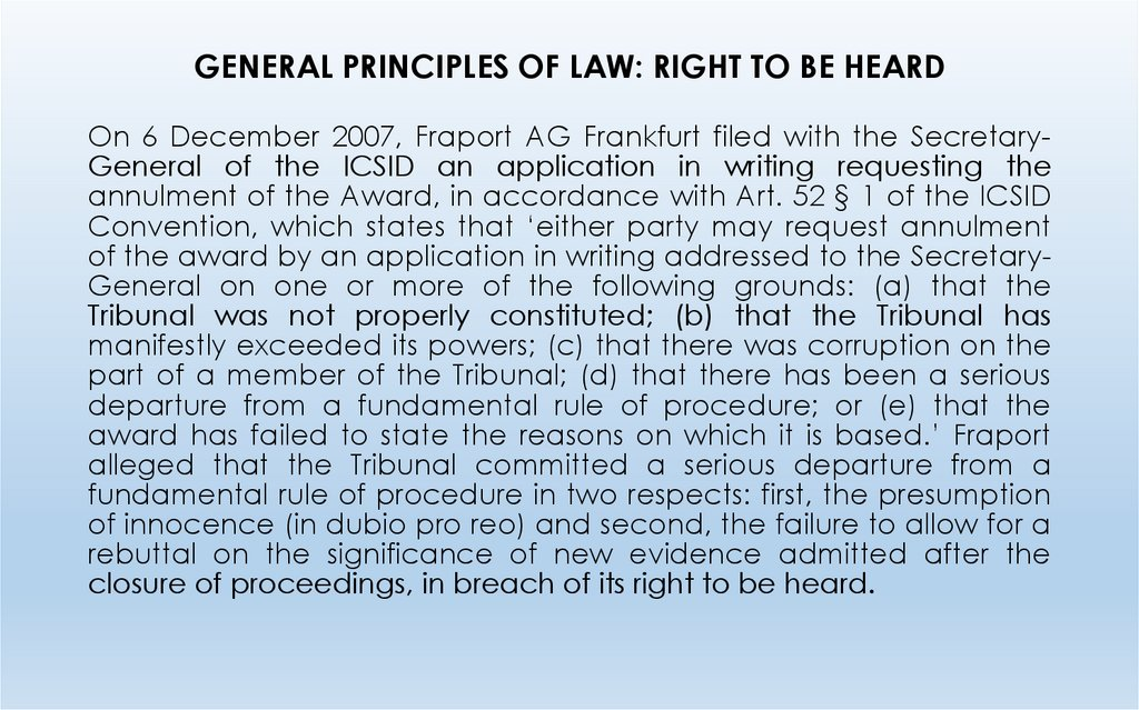 GENERAL PRINCIPLES OF LAW: RIGHT TO BE HEARD