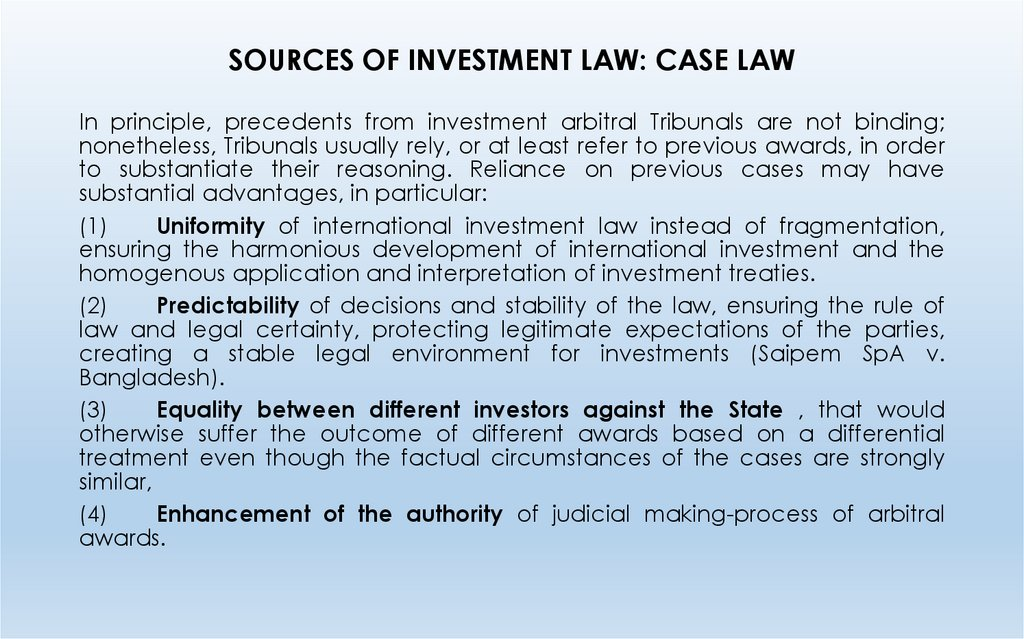 SOURCES OF INVESTMENT LAW: CASE LAW