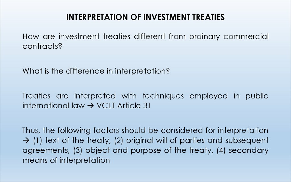 INTERPRETATION OF INVESTMENT TREATIES