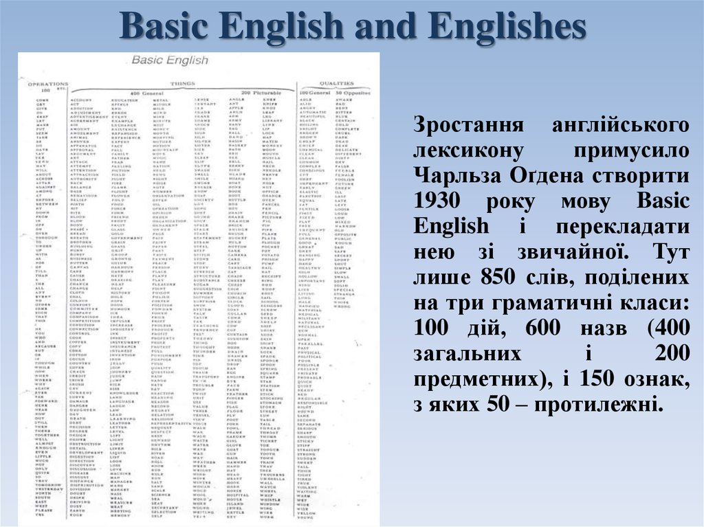 Basic English and Englishes