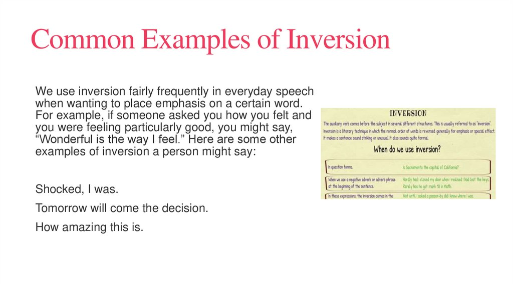 Common Examples of Inversion