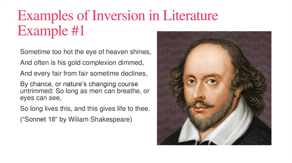 Examples of Inversion in Literature Example #1