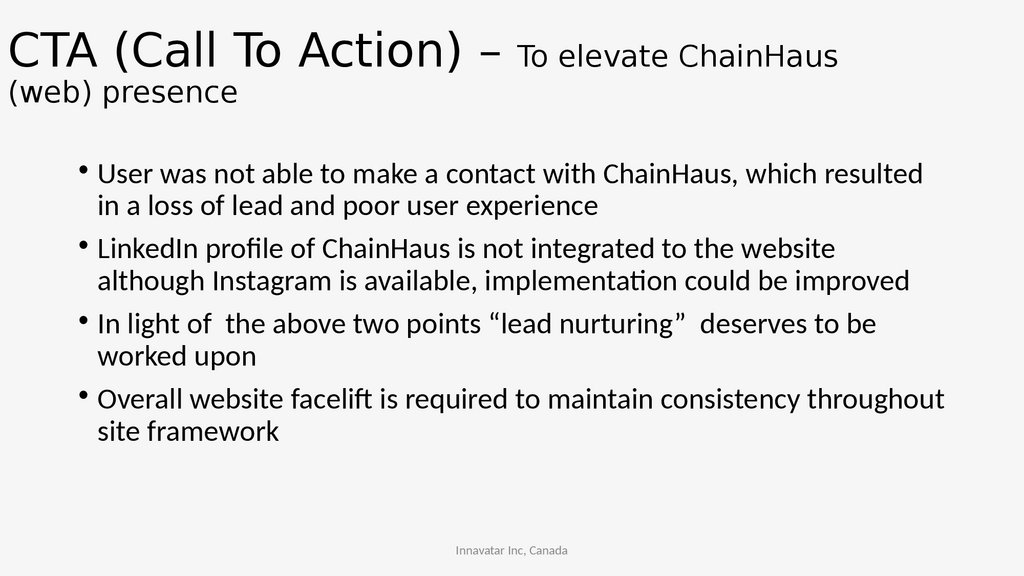 CTA (Call To Action) – To elevate ChainHaus (web) presence