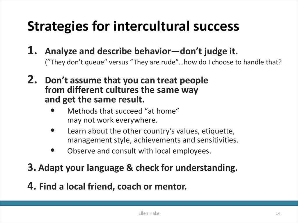 Strategies for intercultural success