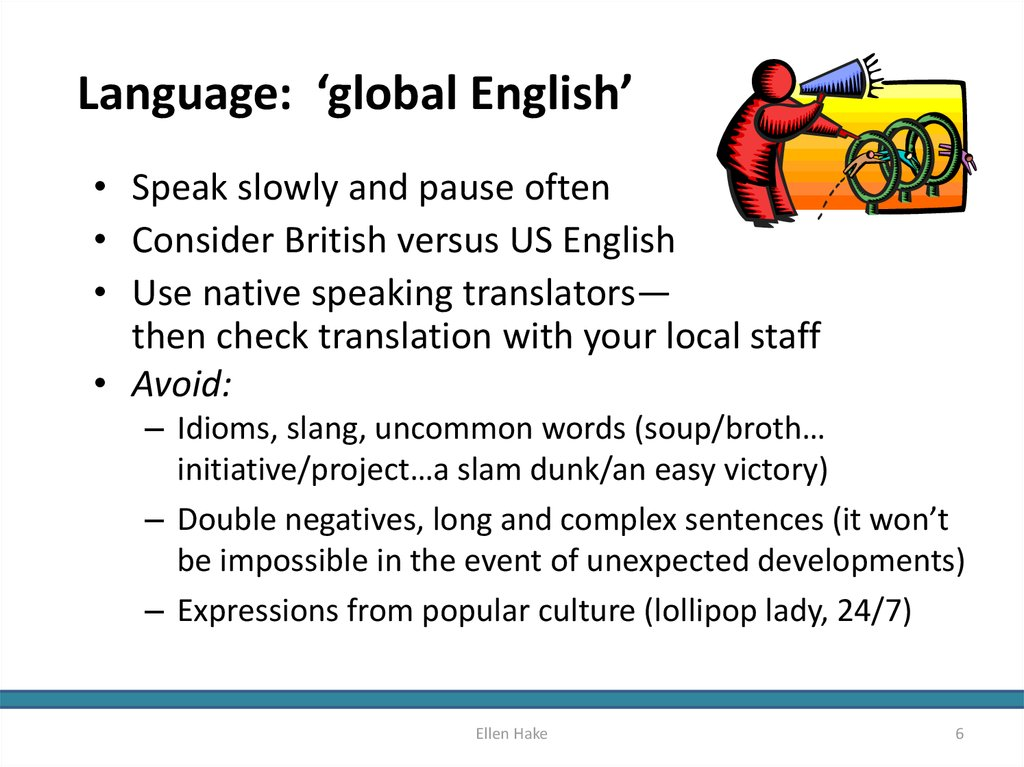 Language: 'global English'
