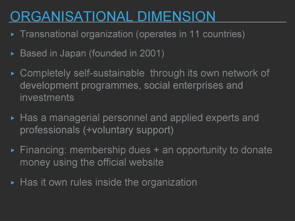 organisational dimension