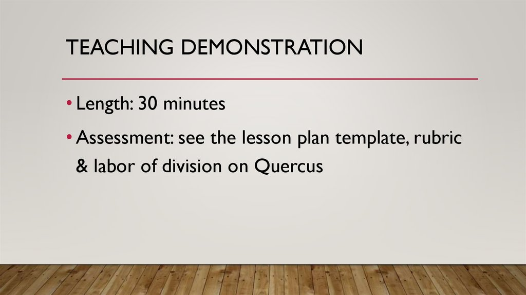 Teaching demonstration
