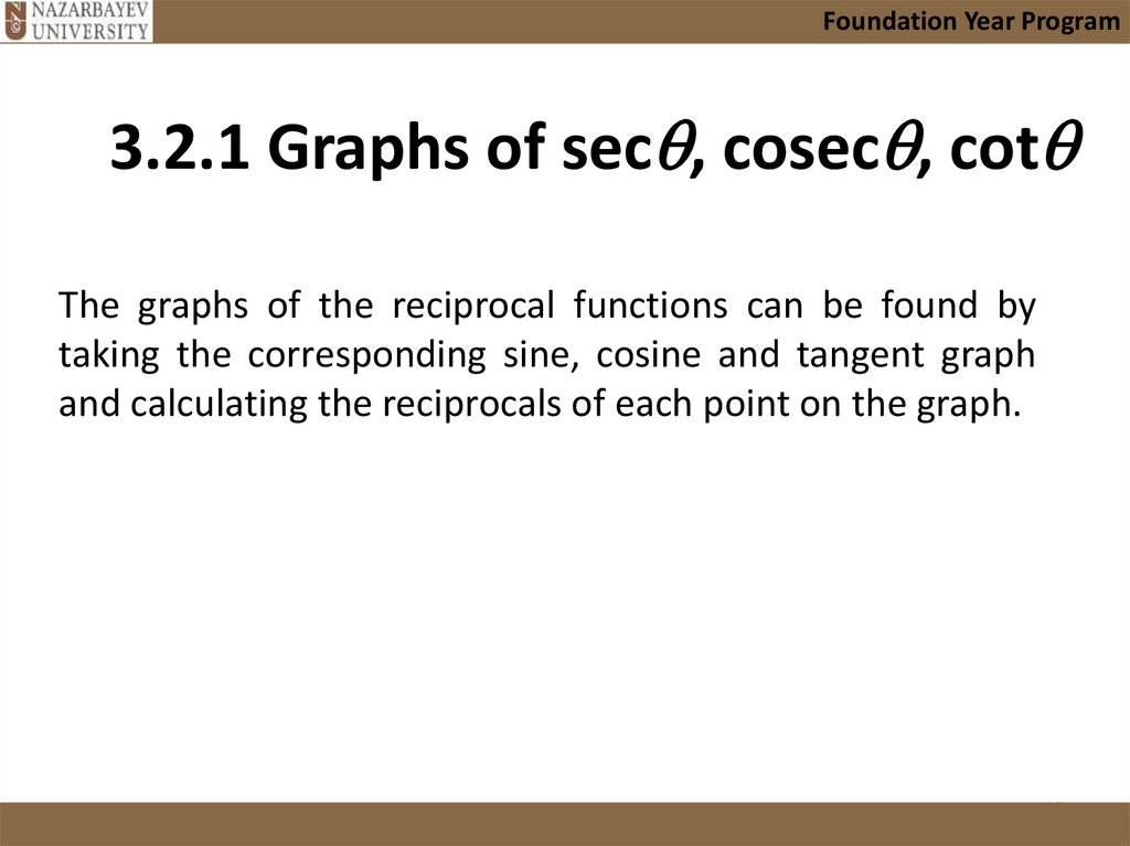 3.2.1 Graphs of sec, cosec, cot