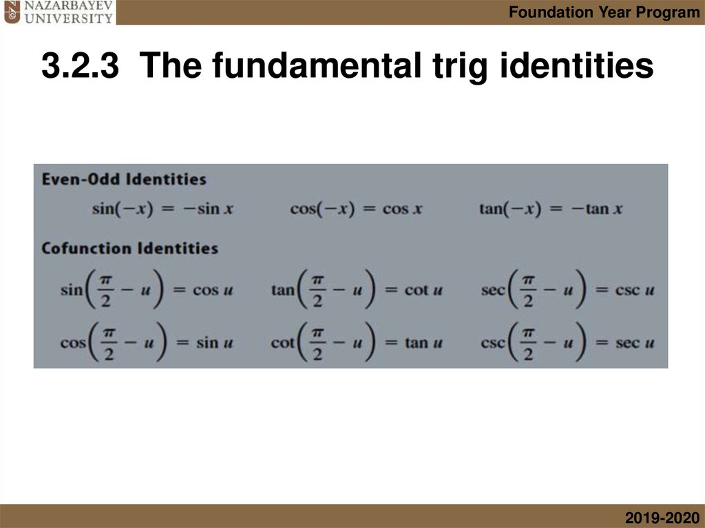 3.2.3 The fundamental trig identities