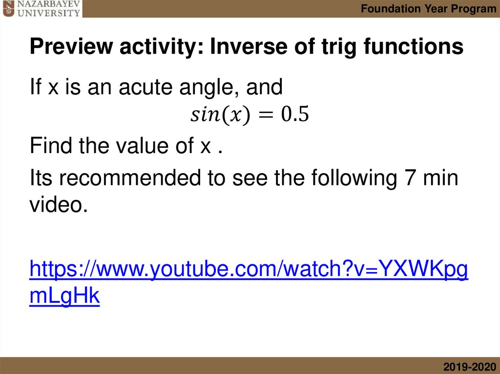 Preview activity: Inverse of trig functions