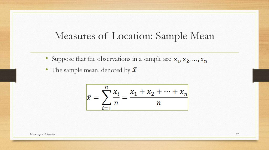 Measures of Location: Sample Mean