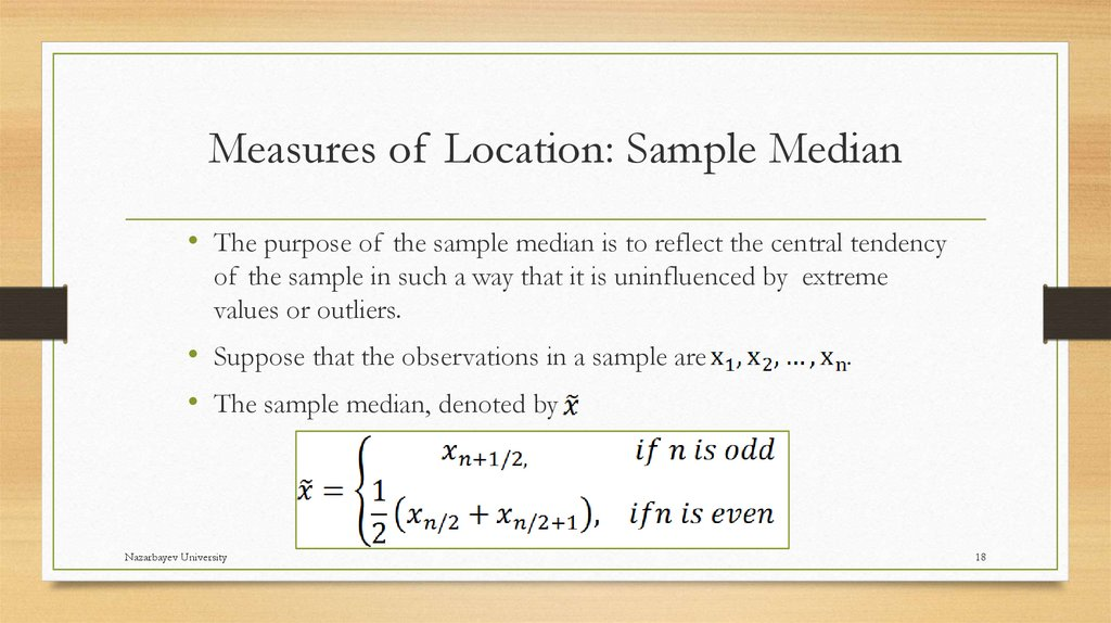 Measures of Location: Sample Median