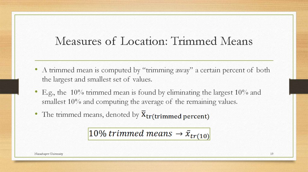 Measures of Location: Trimmed Means