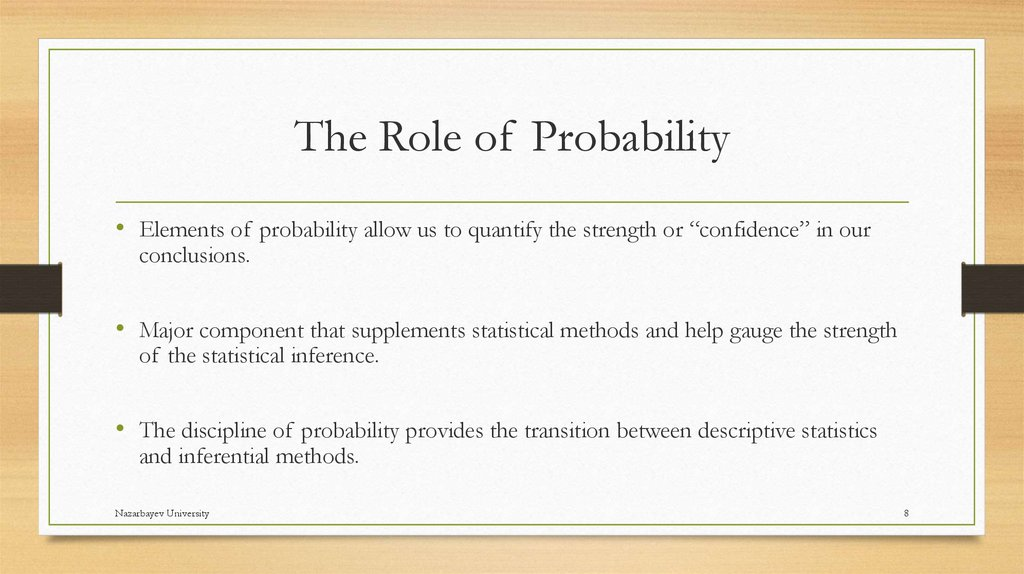 The Role of Probability