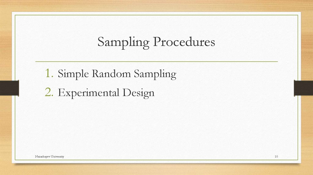 Sampling Procedures