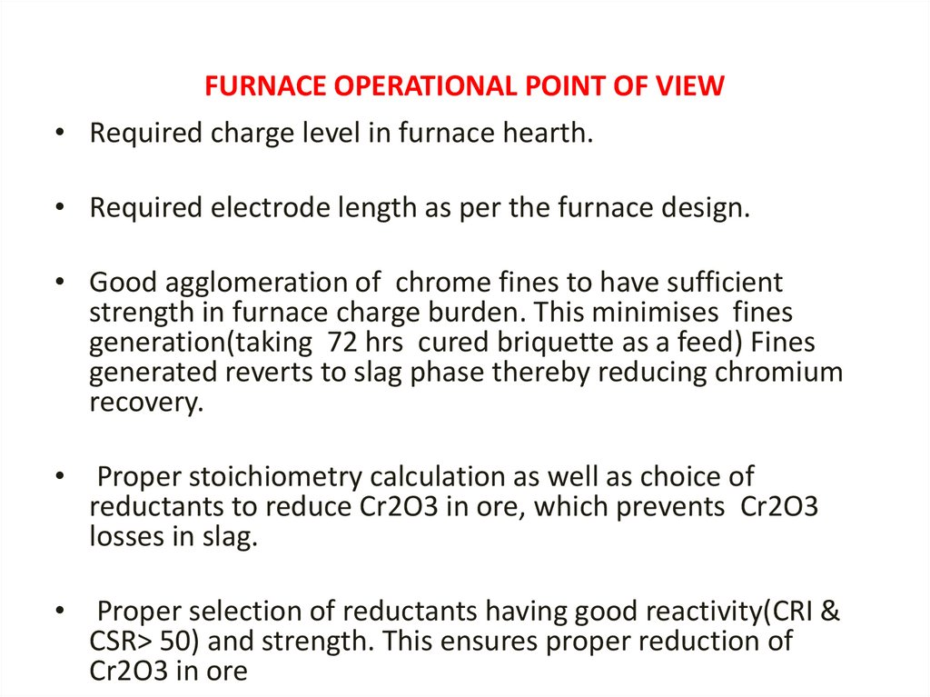 FURNACE OPERATIONAL POINT OF VIEW