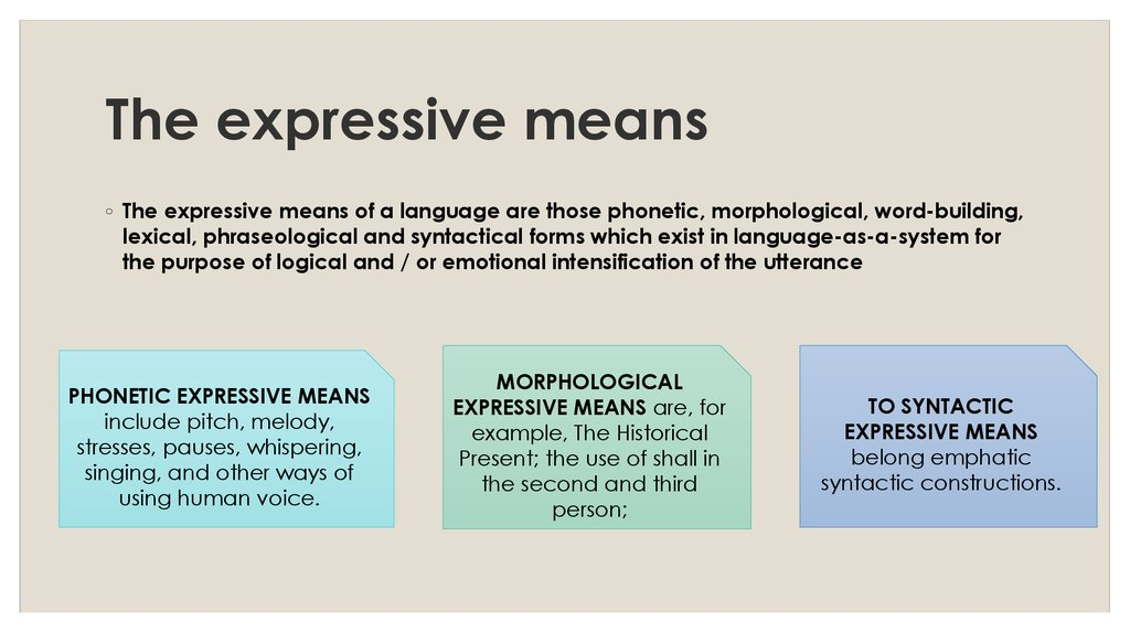 The expressive means