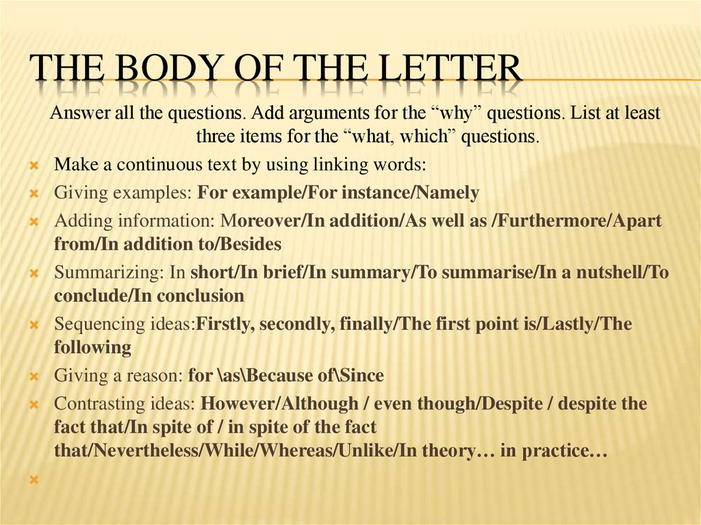 The body of the letter