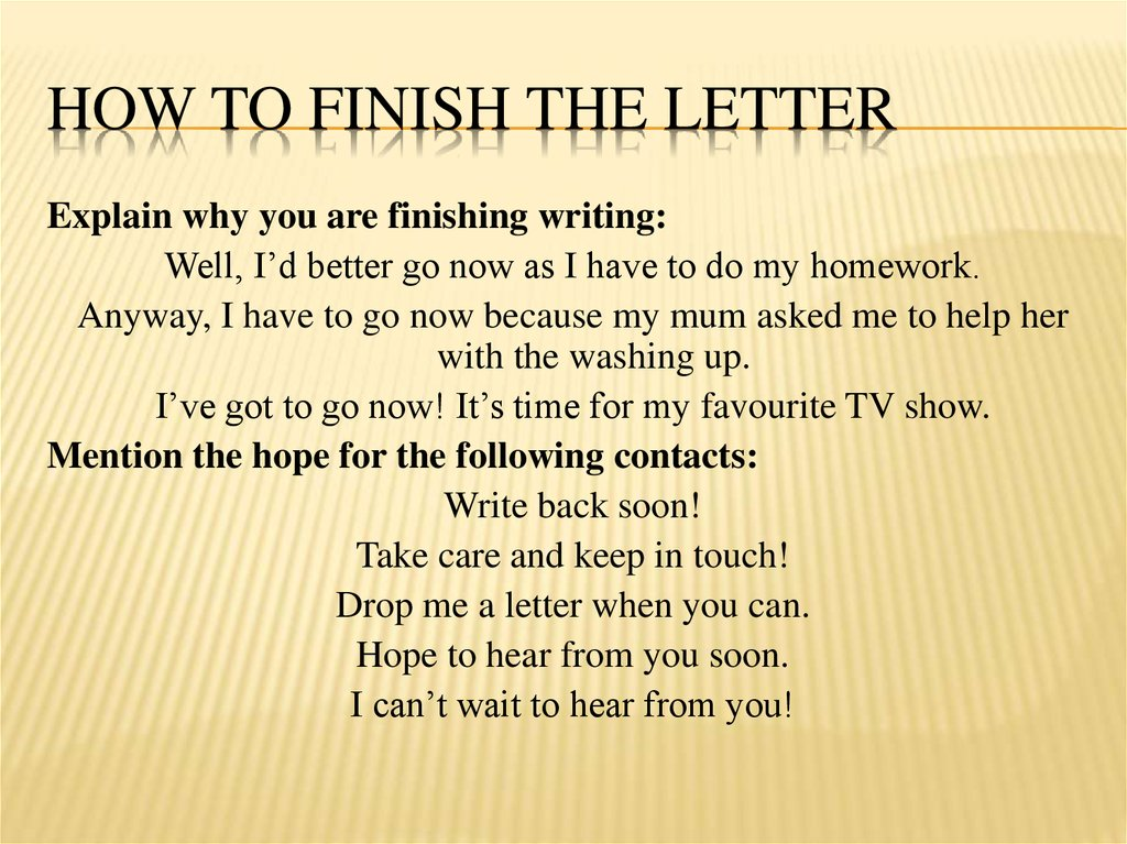 How to finish the letter
