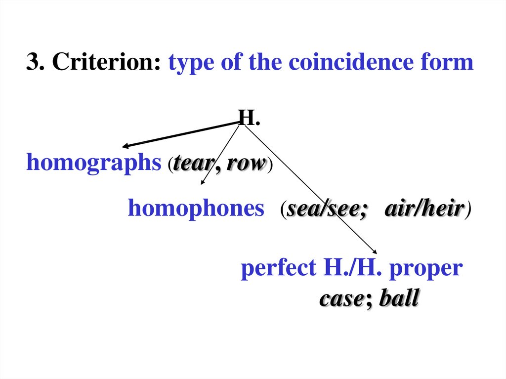 3. Criterion: type of the coincidence form