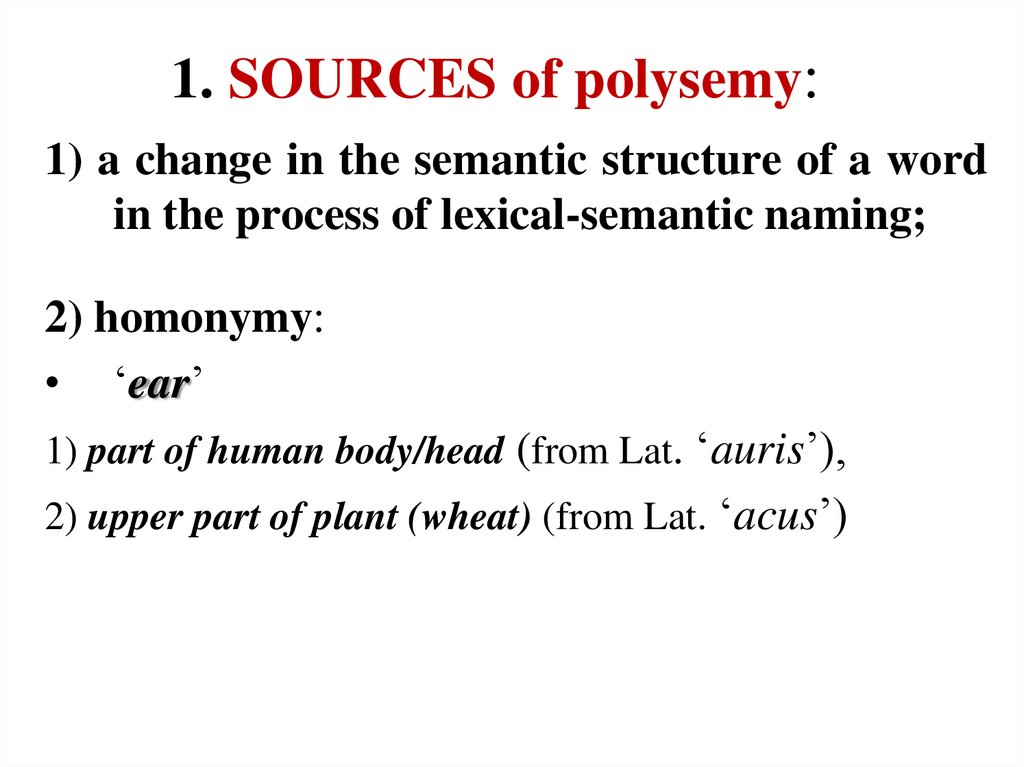 1. SOURCES of polysemy: