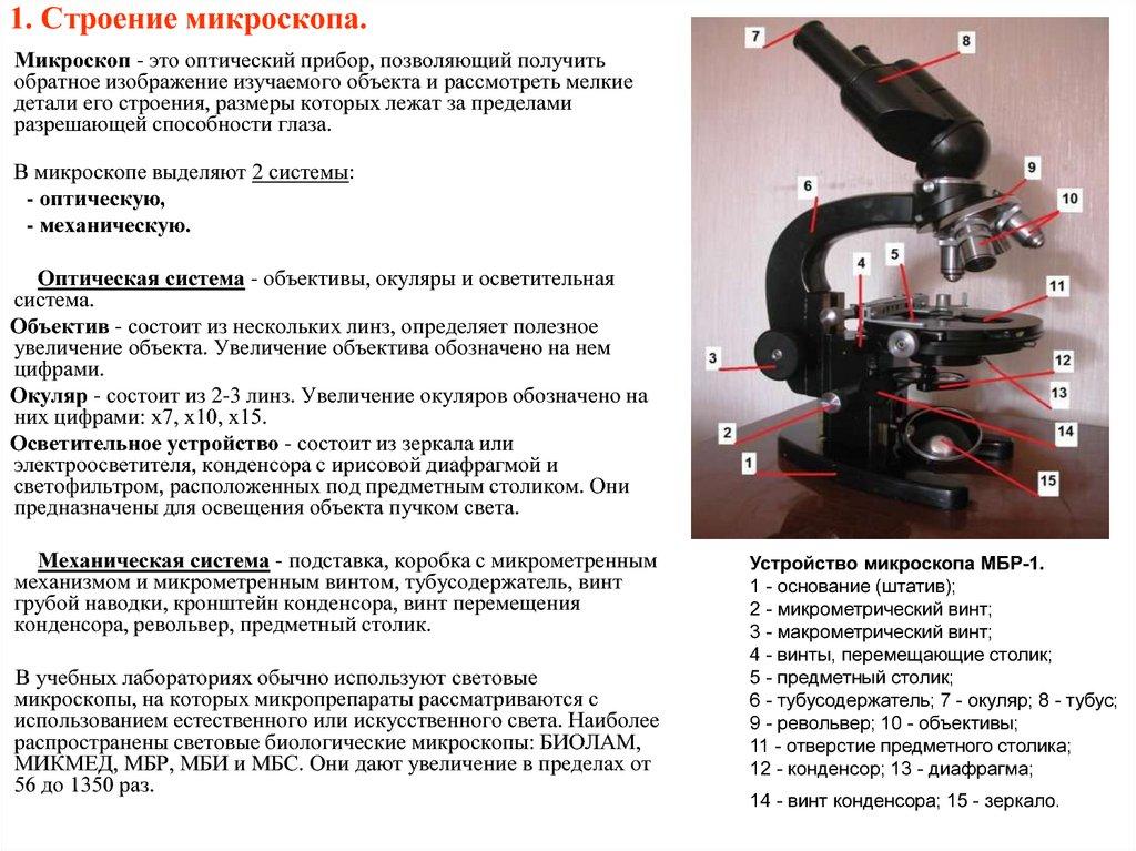 1. Строение микроскопа.
