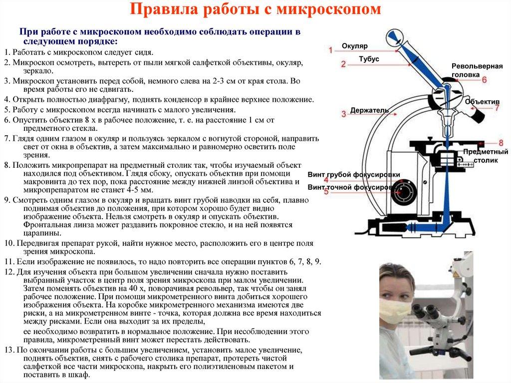 Правила работы с микроскопом