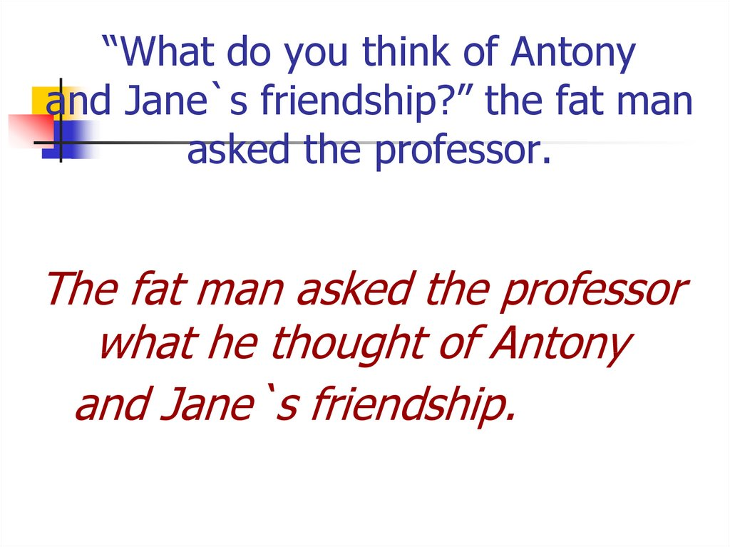 """What do you think of Antony and Jane`s friendship?"" the fat man asked the professor."