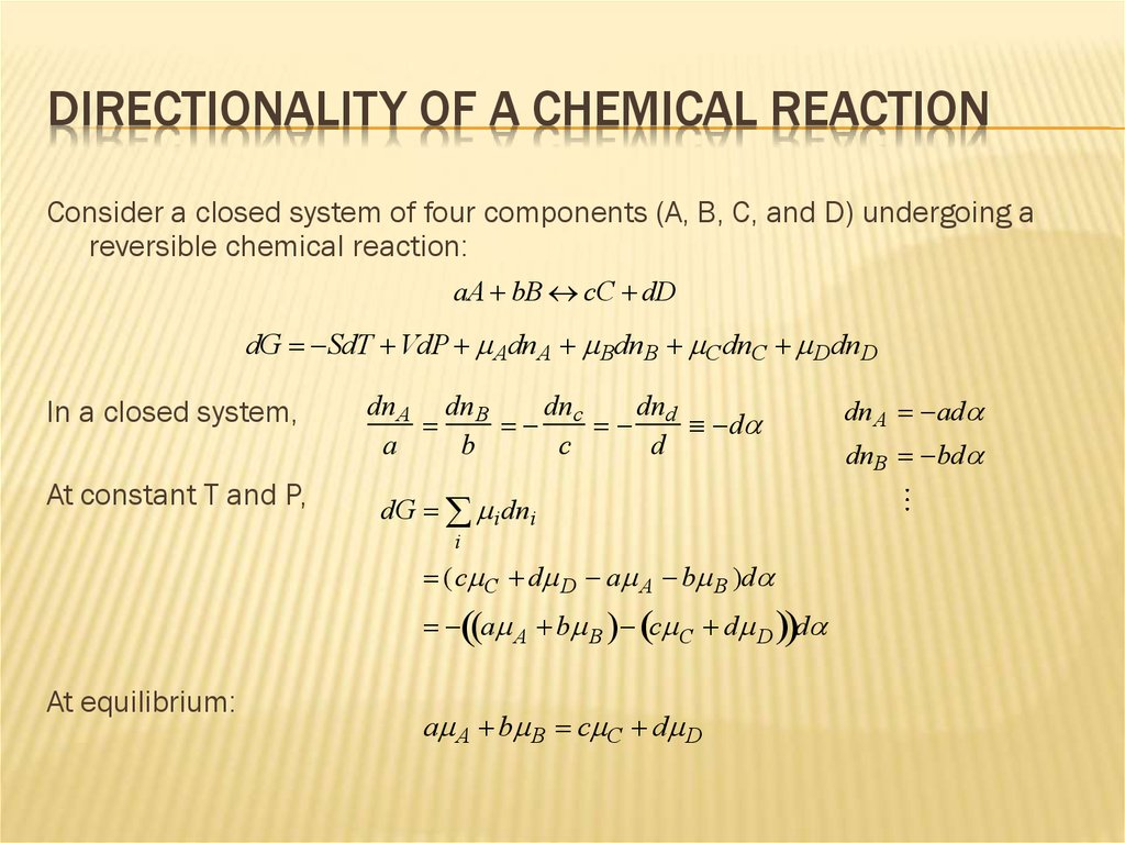 Directionality of a Chemical Reaction