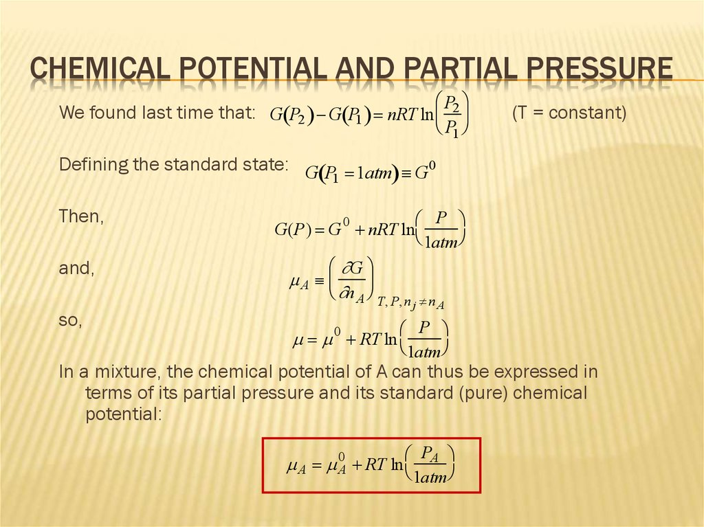 Chemical Potential and Partial Pressure
