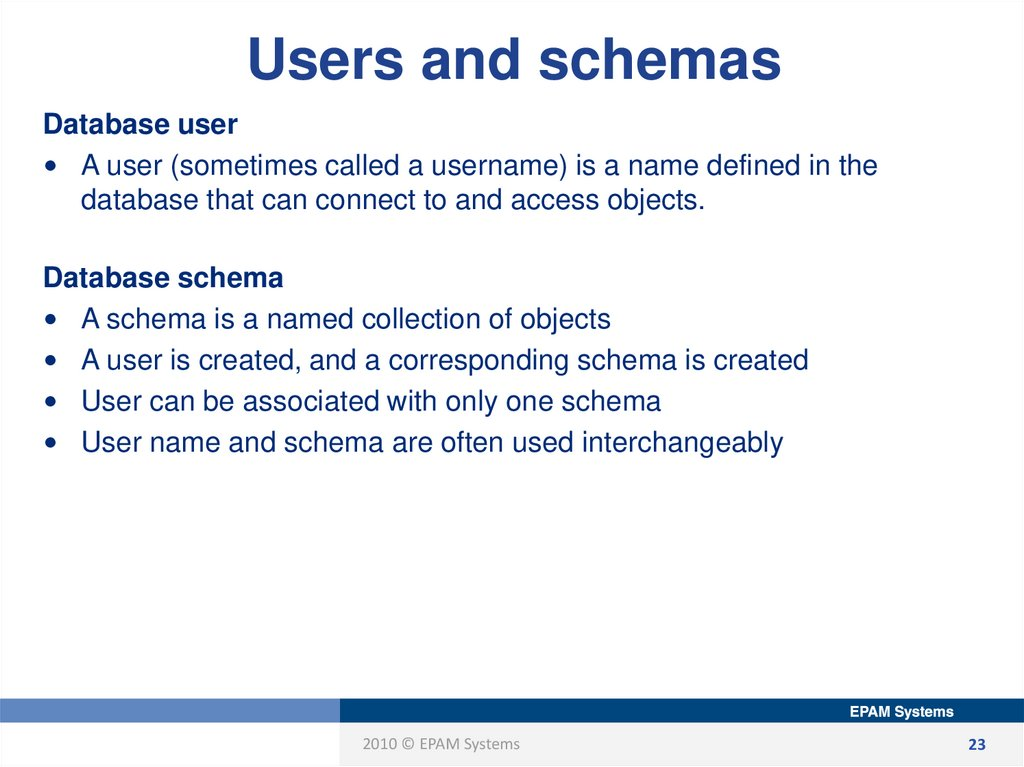 Users and schemas